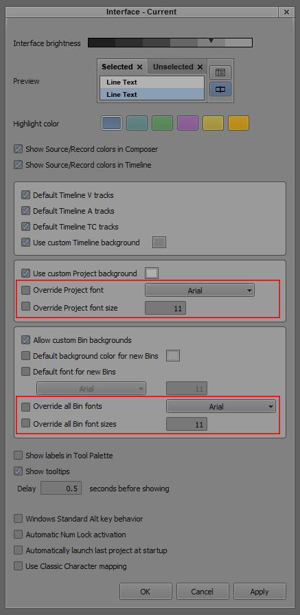 Interface Settings - עריכת וידאו אביד