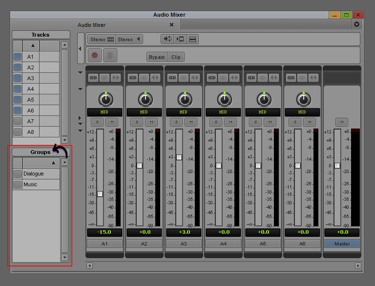 Avid Audio Mixer - Grouping