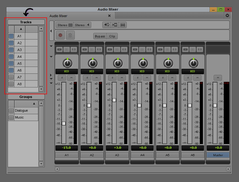 Avid Audio Mixer - Tracks