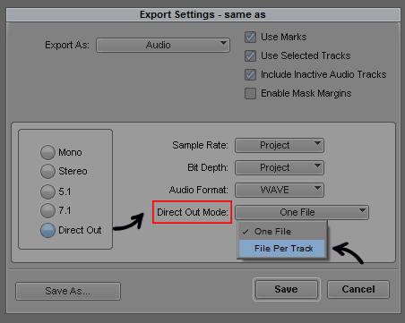 Direct Out - File Per Track