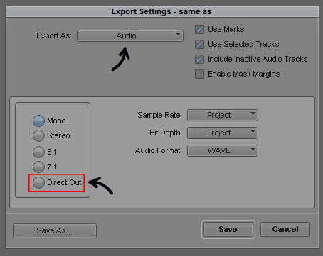 Export As - Audio - Settings
