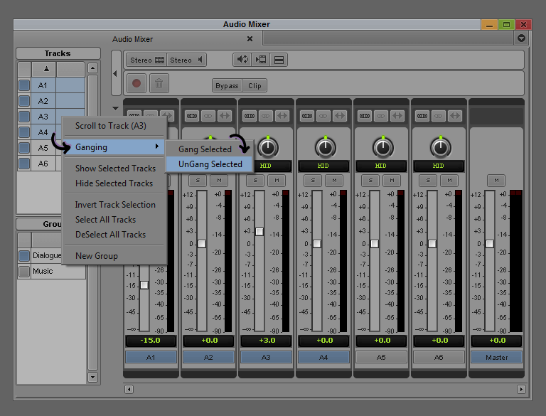 UnGang - Avid Audio Mixer